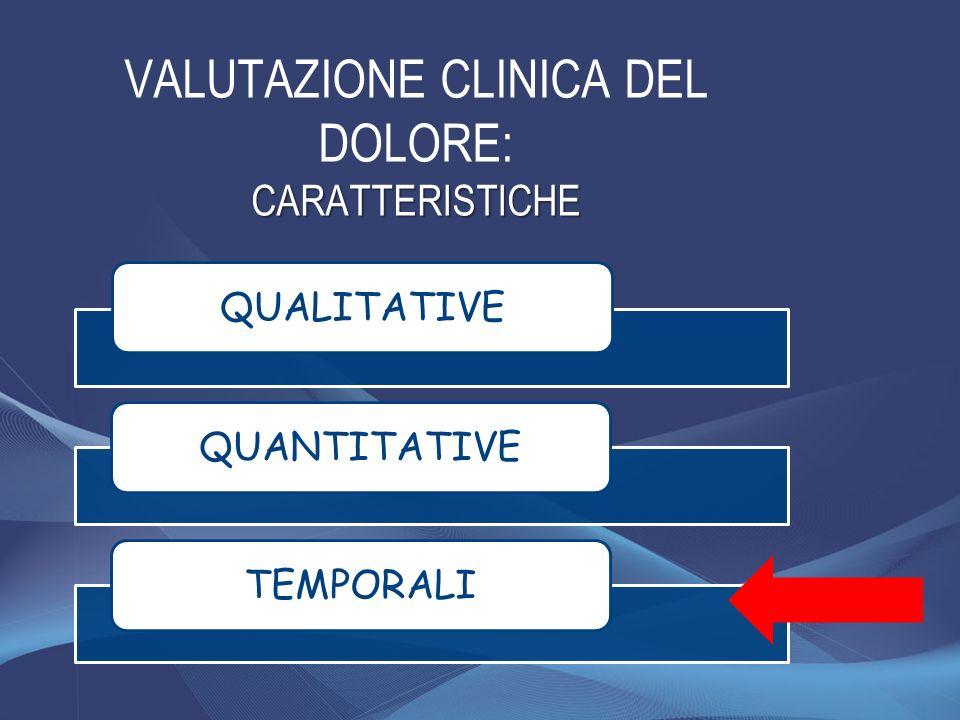 VALUTAZIONE CLINICA DEL DOLORE: CARATTERISTICHE