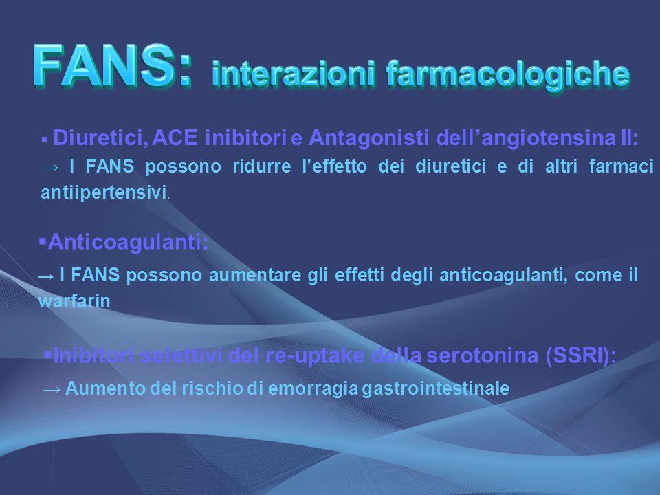 FANS: interazioni farmacologiche FANS: interazioni farmacologiche