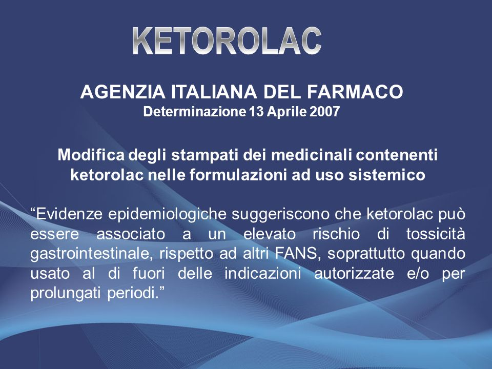 AGENZIA ITALIANA DEL FARMACO Determinazione 13 Aprile 2007