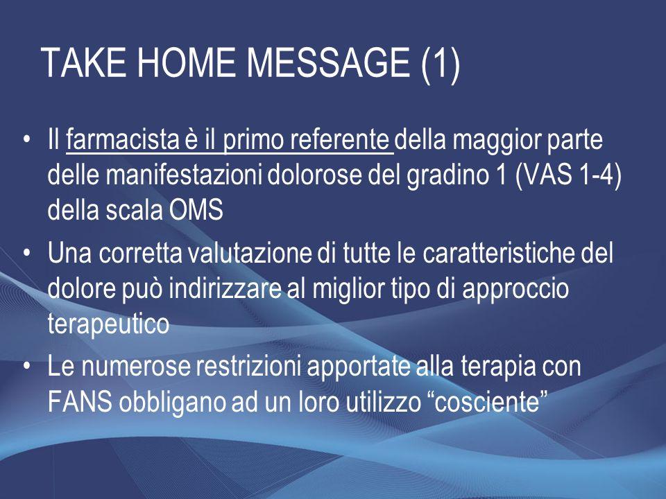 TAKE HOME MESSAGE (1) Il farmacista è il primo referente della maggior parte delle manifestazioni dolorose del gradino 1 (VAS 1-4) della scala OMS.