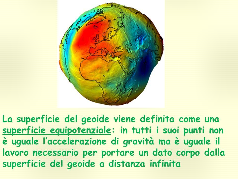 La superficie del geoide viene definita come una superficie equipotenziale: in tutti i suoi punti non è uguale l'accelerazione di gravità ma è uguale il lavoro necessario per portare un dato corpo dalla superficie del geoide a distanza infinita