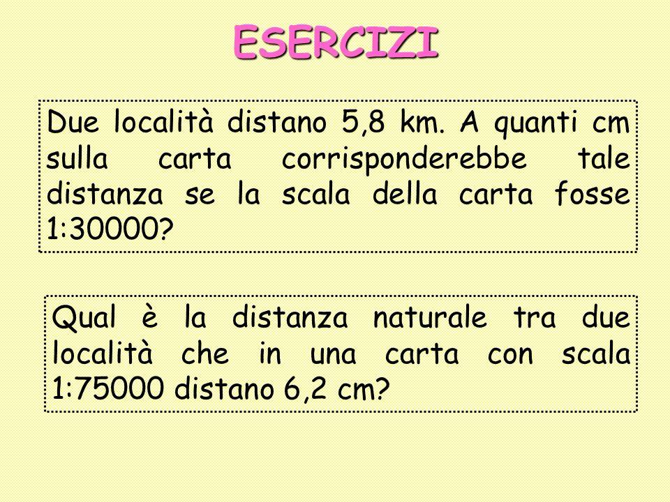 ESERCIZI Due località distano 5,8 km. A quanti cm sulla carta corrisponderebbe tale distanza se la scala della carta fosse 1:30000