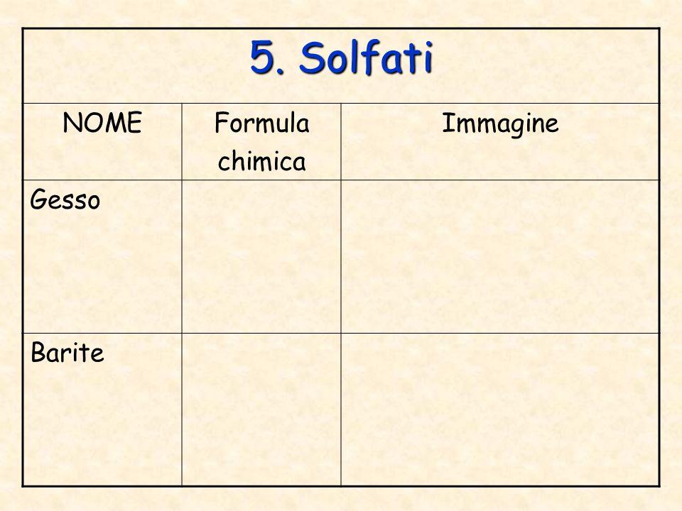 5. Solfati NOME Formula chimica Immagine Gesso Barite