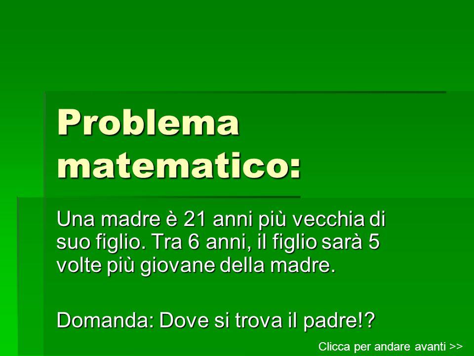 Problema matematico: Una madre è 21 anni più vecchia di suo figlio. Tra 6 anni, il figlio sarà 5 volte più giovane della madre.