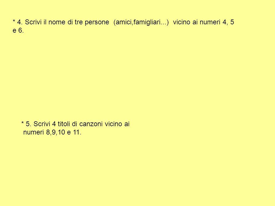 4. Scrivi il nome di tre persone (amici,famigliari