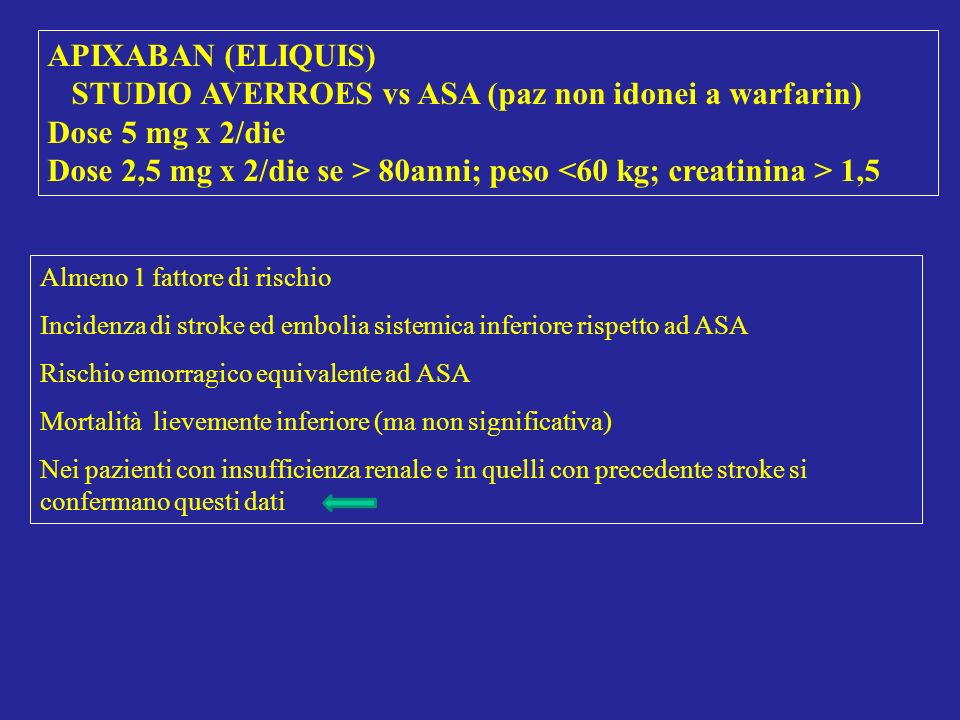 STUDIO AVERROES vs ASA (paz non idonei a warfarin) Dose 5 mg x 2/die
