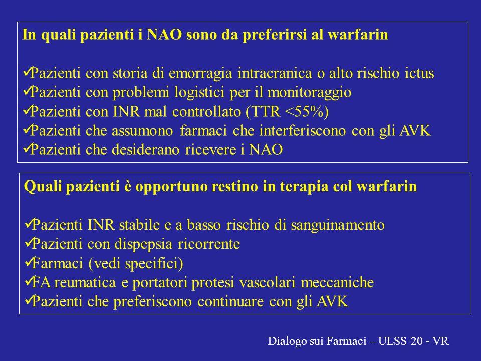 In quali pazienti i NAO sono da preferirsi al warfarin