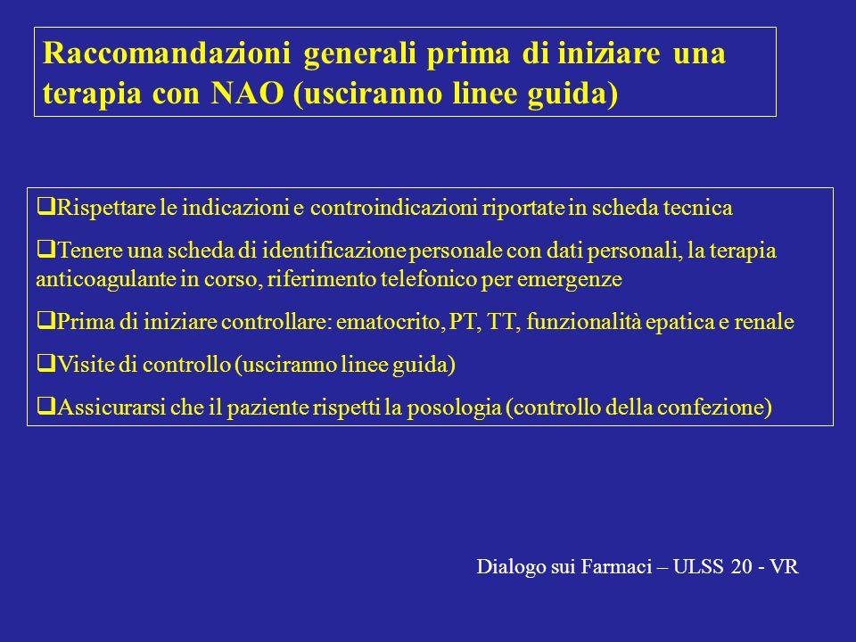 Raccomandazioni generali prima di iniziare una terapia con NAO (usciranno linee guida)
