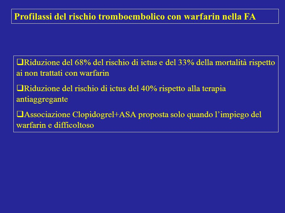 Profilassi del rischio tromboembolico con warfarin nella FA