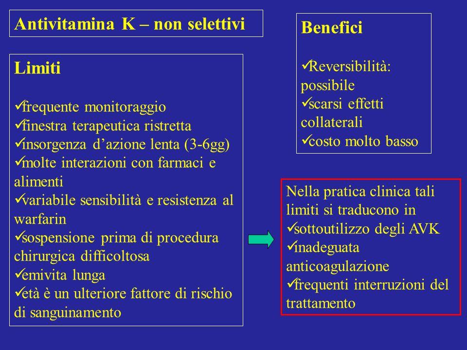 Antivitamina K – non selettivi Benefici