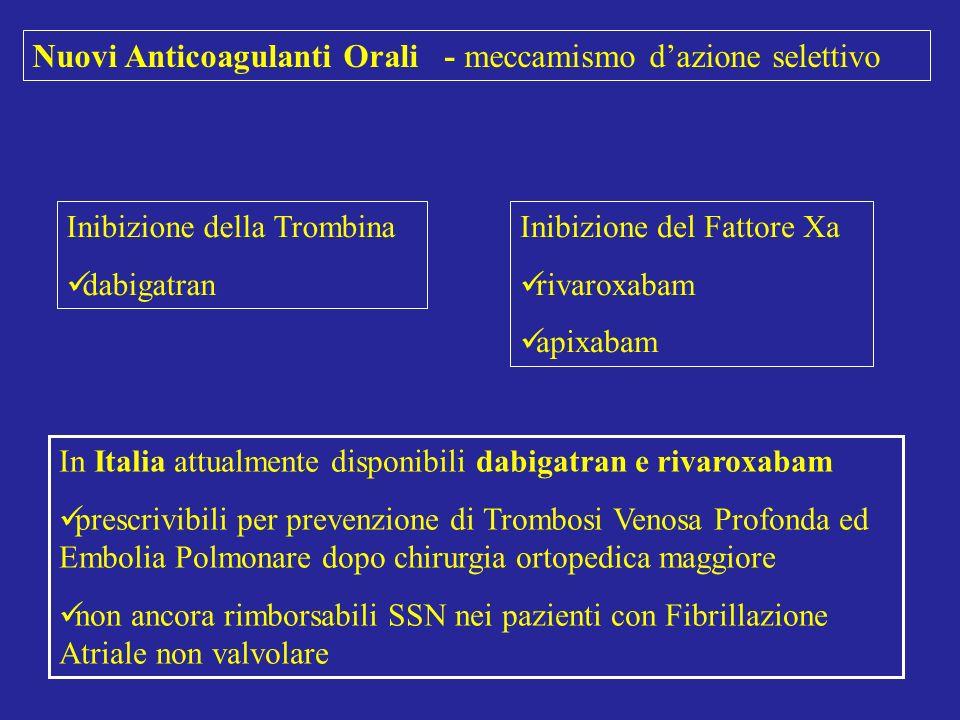 Nuovi Anticoagulanti Orali - meccamismo d'azione selettivo