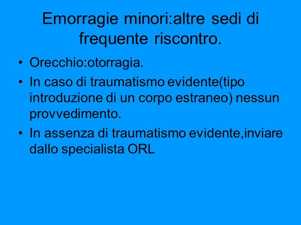Emorragie minori:altre sedi di frequente riscontro.