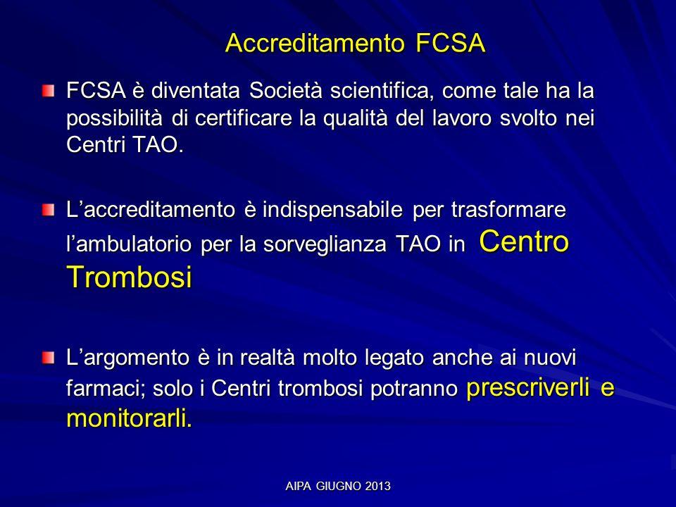 Accreditamento FCSA FCSA è diventata Società scientifica, come tale ha la possibilità di certificare la qualità del lavoro svolto nei Centri TAO.