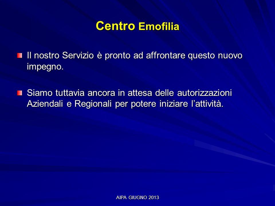 Centro Emofilia Il nostro Servizio è pronto ad affrontare questo nuovo impegno.