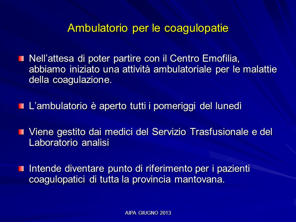 Ambulatorio per le coagulopatie
