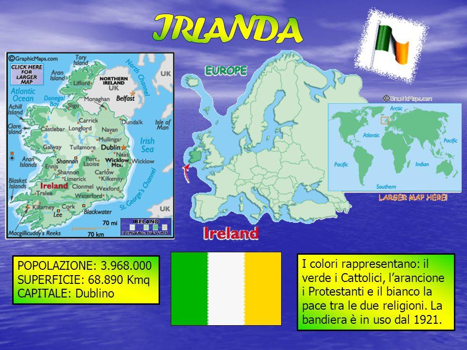 IRLANDA POPOLAZIONE: 3.968.000. SUPERFICIE: 68.890 Kmq. CAPITALE: Dublino.