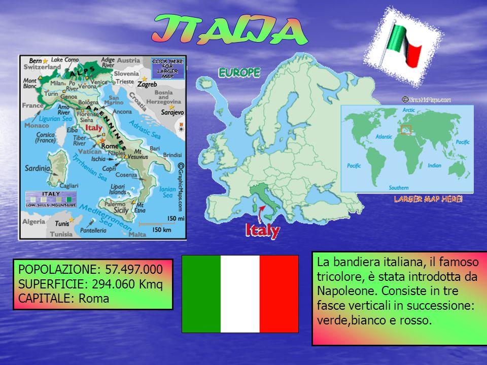 ITALIA La bandiera italiana, il famoso La POPOLAZIONE: 57.497.000