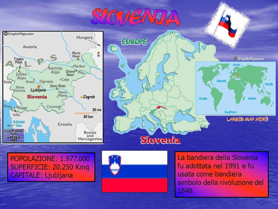 SLOVENIA POPOLAZIONE: 1.977.000. SUPERFICIE: 20.250 Kmq. CAPITALE: Ljubljana.