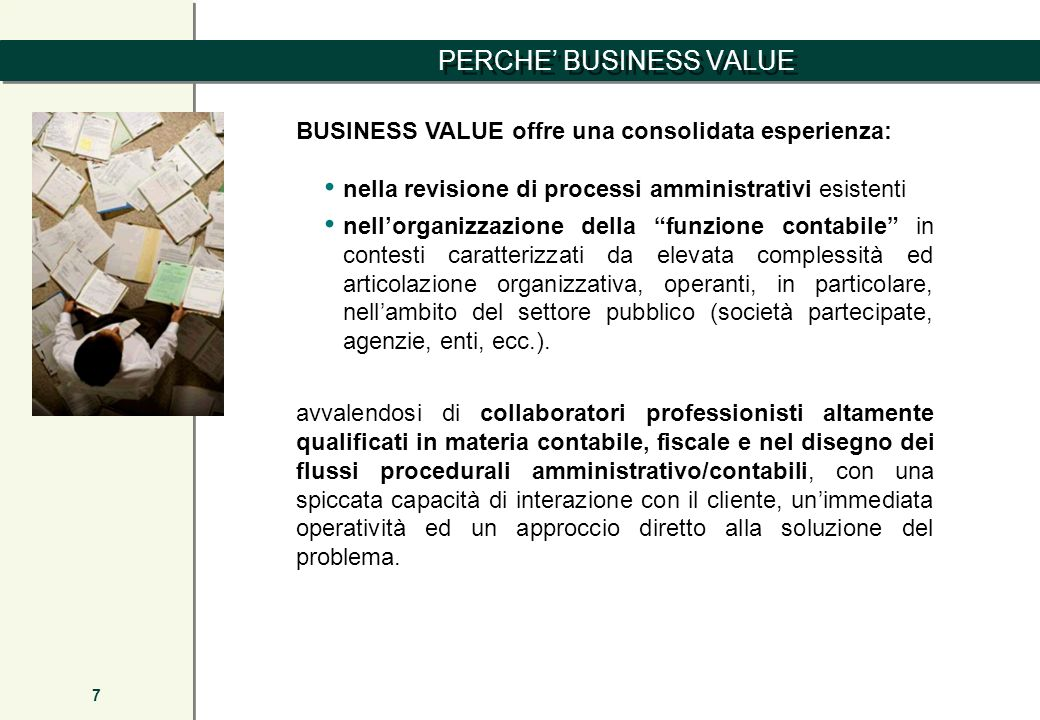 PERCHE' BUSINESS VALUE