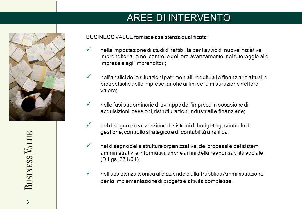 AREE DI INTERVENTO BUSINESS VALUE fornisce assistenza qualificata: