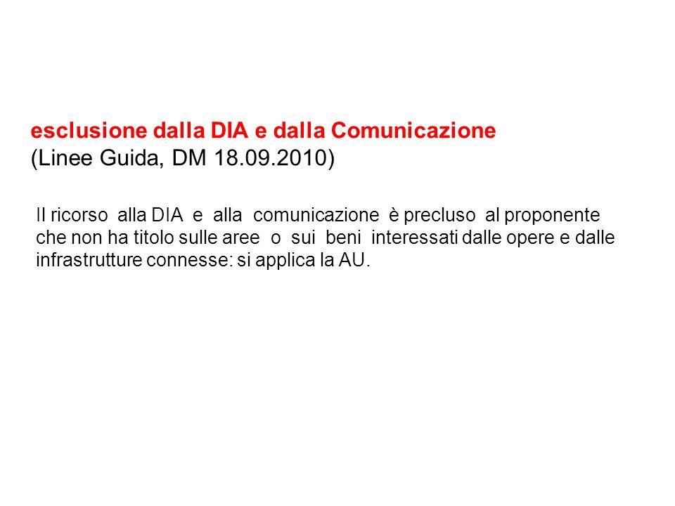 esclusione dalla DIA e dalla Comunicazione