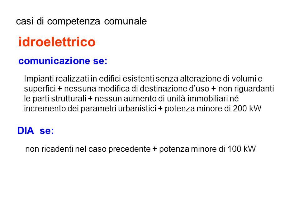 idroelettrico casi di competenza comunale comunicazione se: DIA se: