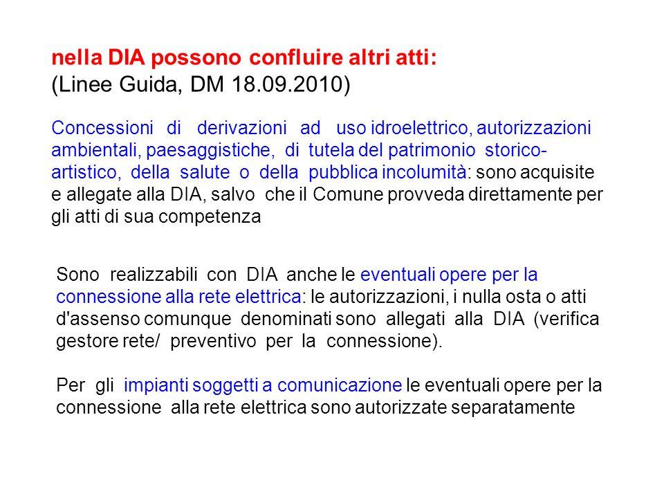 nella DIA possono confluire altri atti: (Linee Guida, DM 18.09.2010)