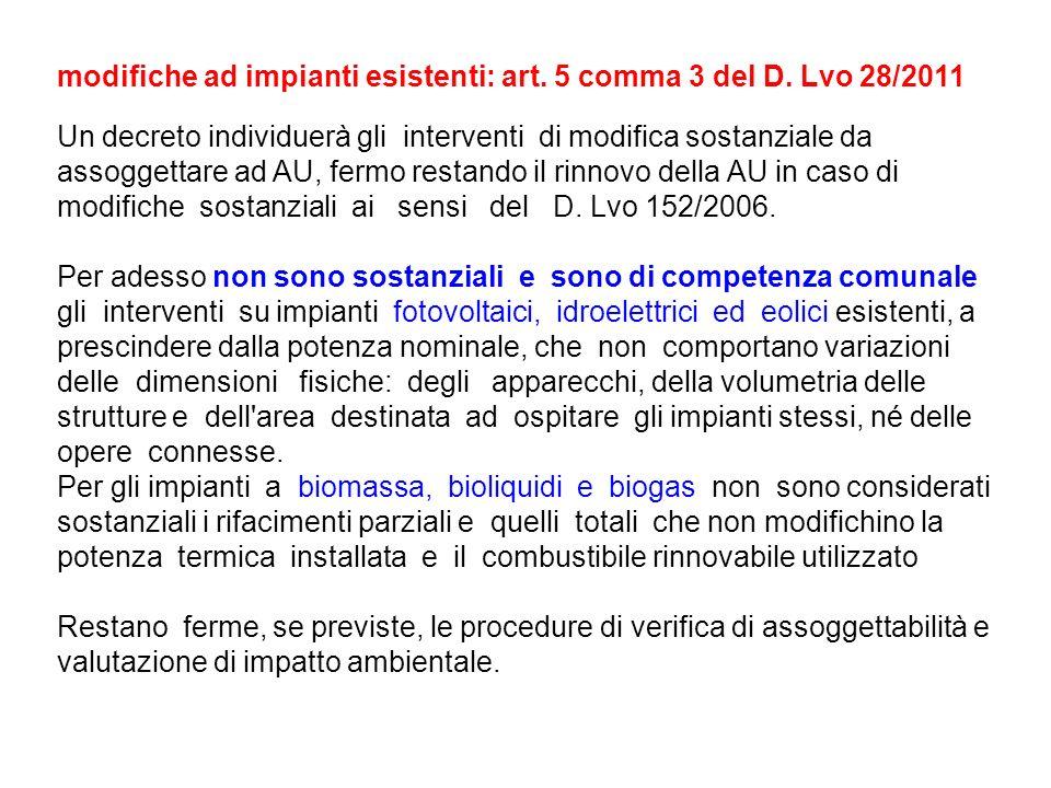 modifiche ad impianti esistenti: art. 5 comma 3 del D. Lvo 28/2011