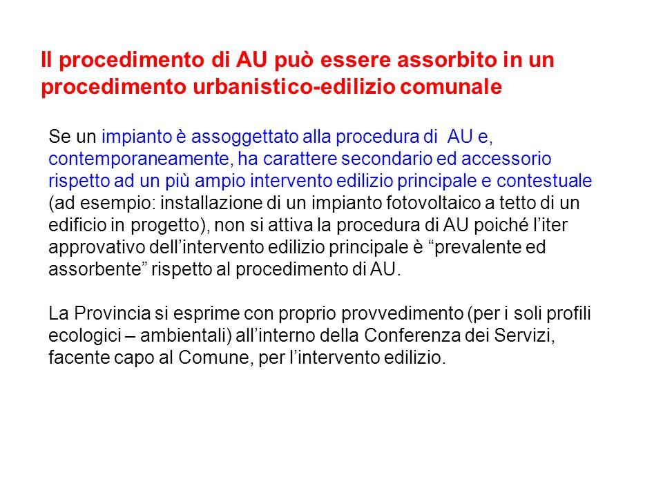 Il procedimento di AU può essere assorbito in un procedimento urbanistico-edilizio comunale