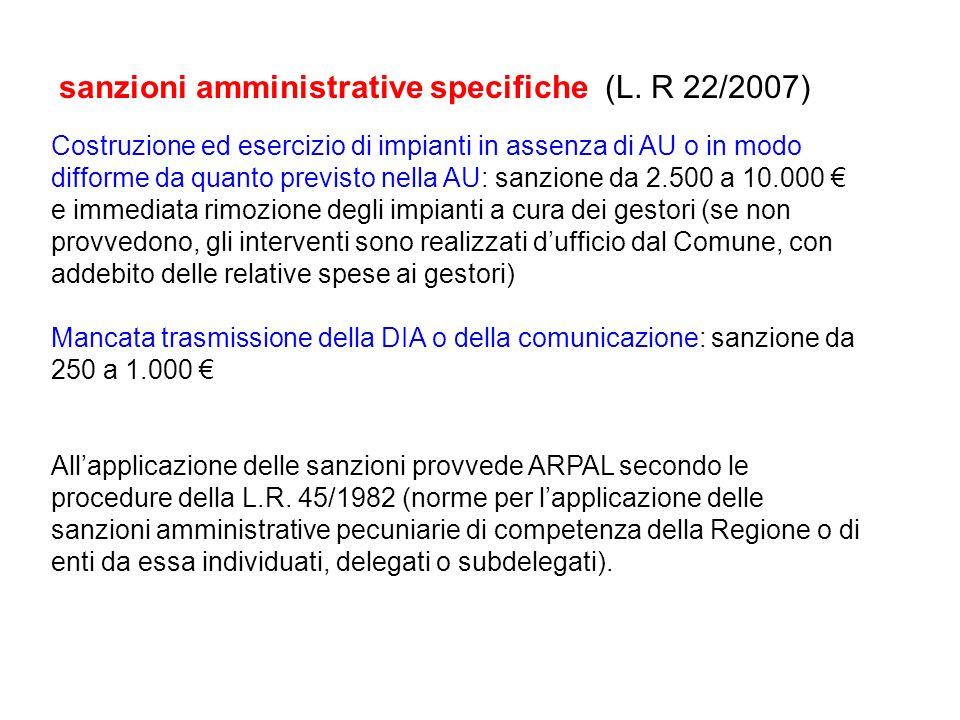 sanzioni amministrative specifiche (L. R 22/2007)