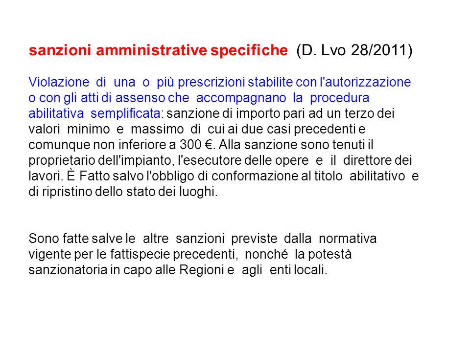 sanzioni amministrative specifiche (D. Lvo 28/2011)