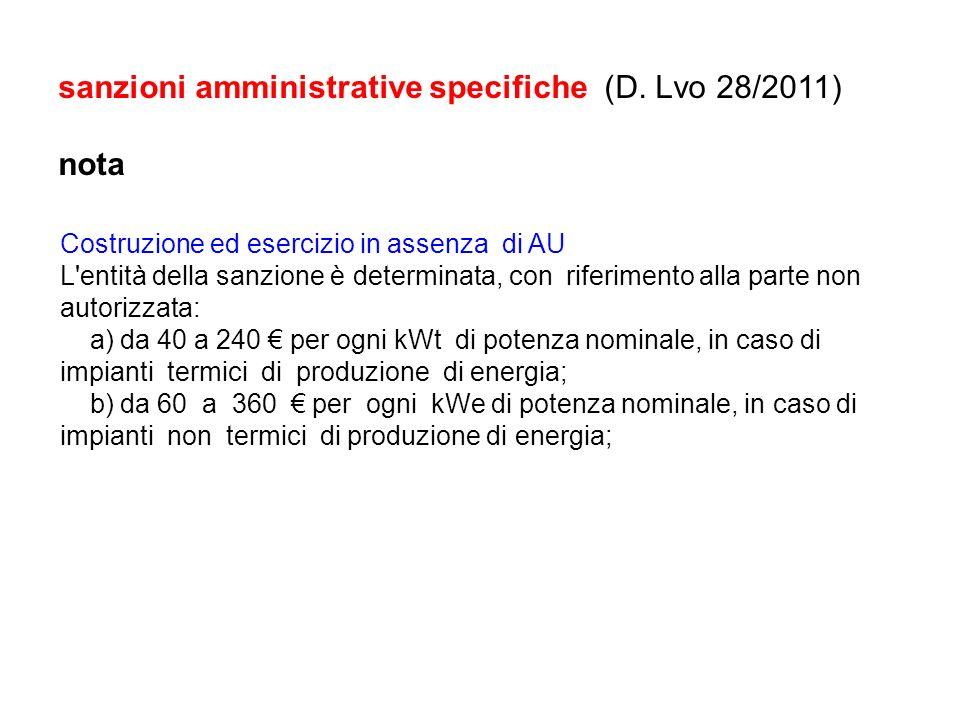 sanzioni amministrative specifiche (D. Lvo 28/2011) nota