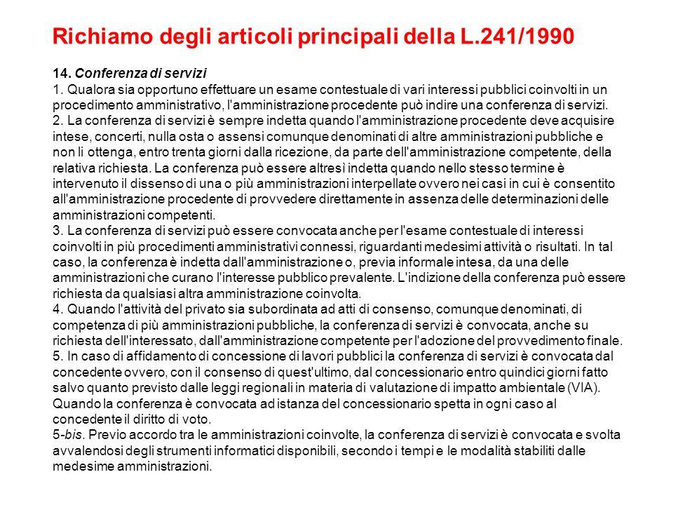 Richiamo degli articoli principali della L.241/1990