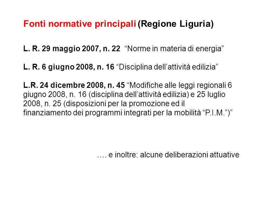 Fonti normative principali (Regione Liguria)