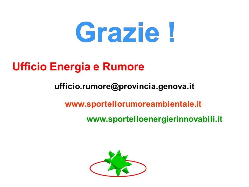 Grazie ! Ufficio Energia e Rumore ufficio.rumore@provincia.genova.it