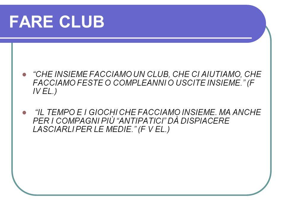 FARE CLUB CHE INSIEME FACCIAMO UN CLUB, CHE CI AIUTIAMO, CHE FACCIAMO FESTE O COMPLEANNI O USCITE INSIEME. (F IV EL.)