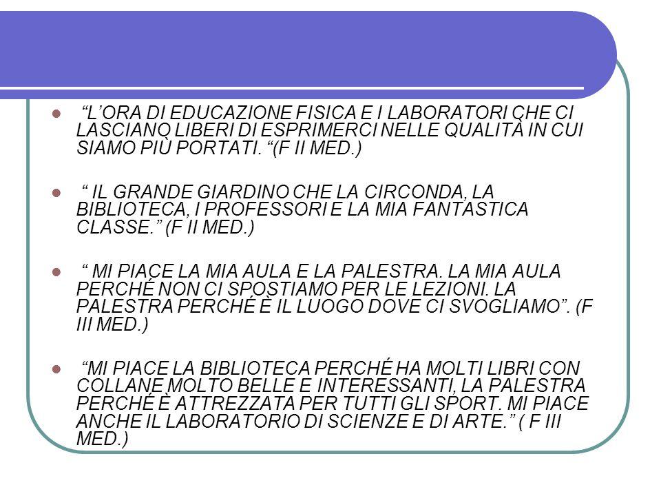 L'ORA DI EDUCAZIONE FISICA E I LABORATORI CHE CI LASCIANO LIBERI DI ESPRIMERCI NELLE QUALITÀ IN CUI SIAMO PIÙ PORTATI. (F II MED.)