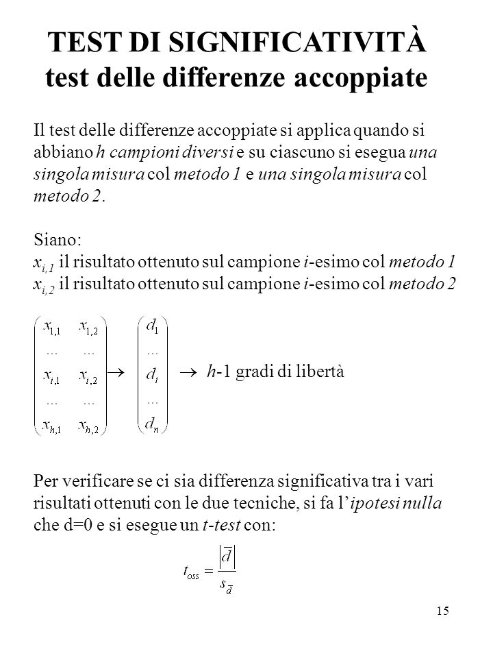 TEST DI SIGNIFICATIVITÀ test delle differenze accoppiate