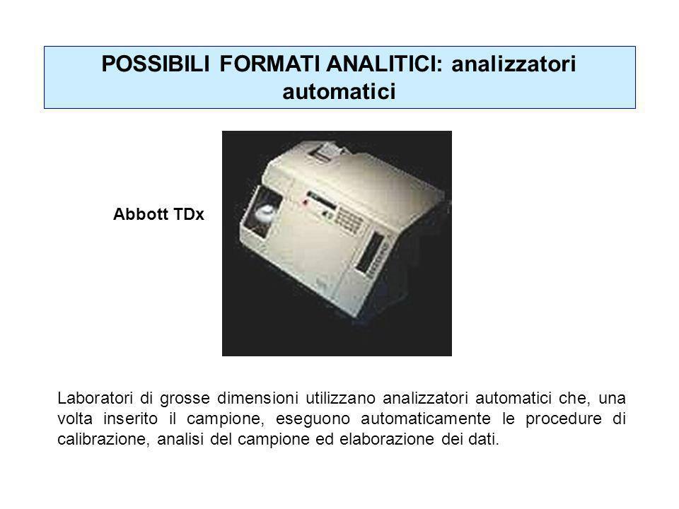POSSIBILI FORMATI ANALITICI: analizzatori automatici