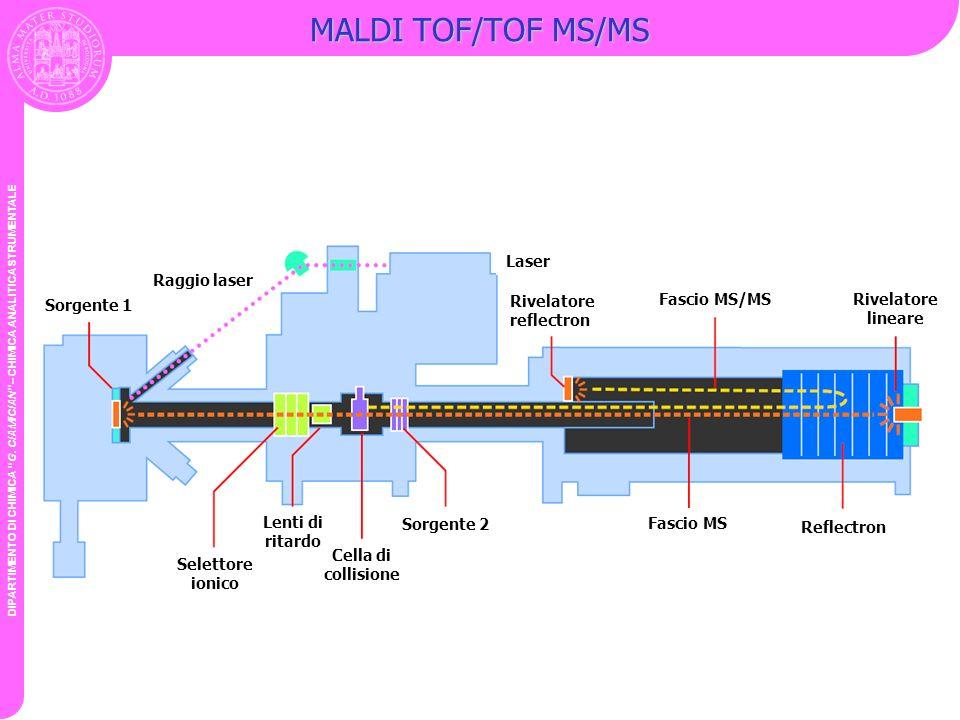 MALDI TOF/TOF MS/MS Sorgente 1 Laser Rivelatore reflectron
