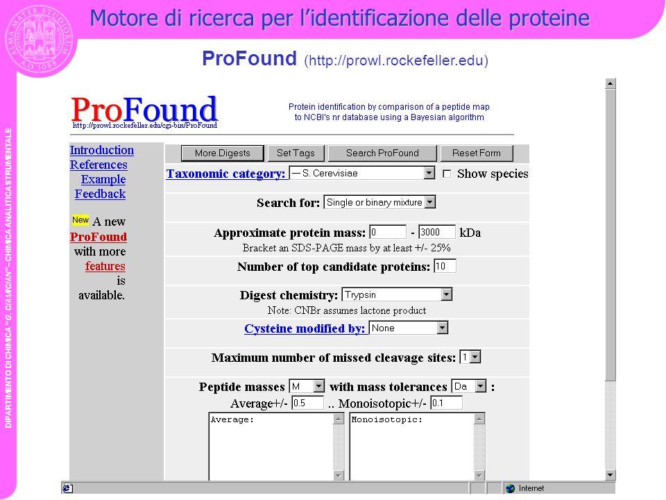 Motore di ricerca per l'identificazione delle proteine