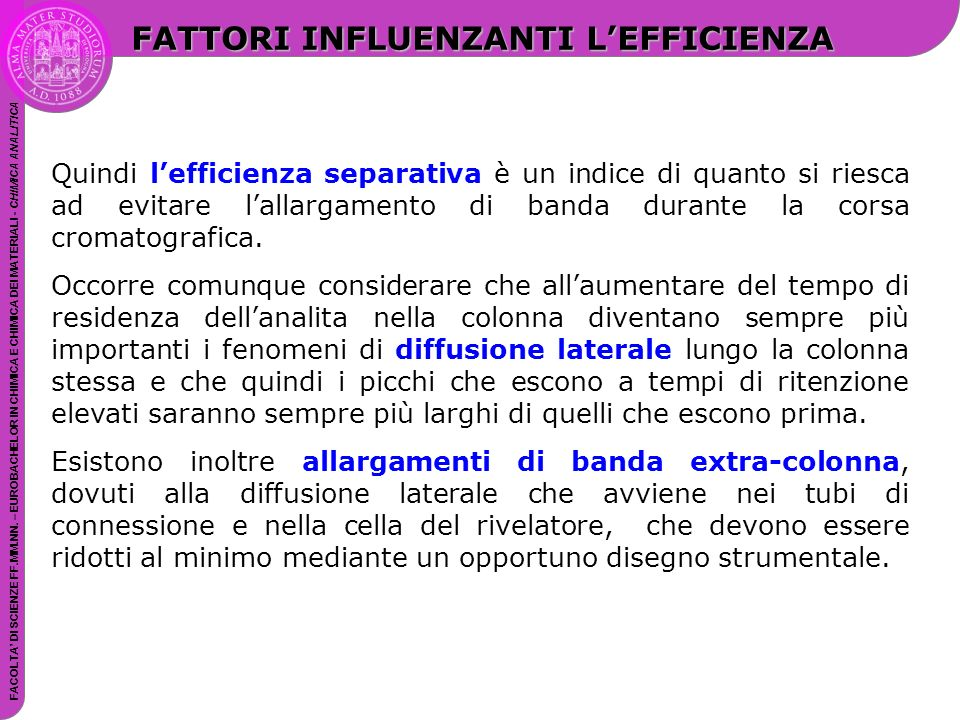 FATTORI INFLUENZANTI L'EFFICIENZA