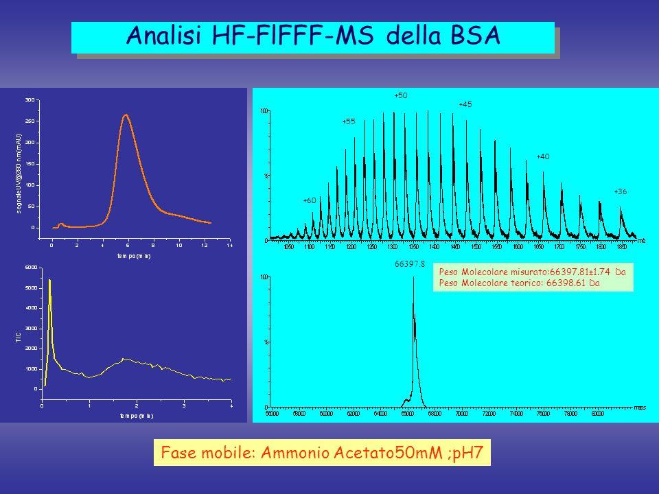 Analisi HF-FlFFF-MS della BSA