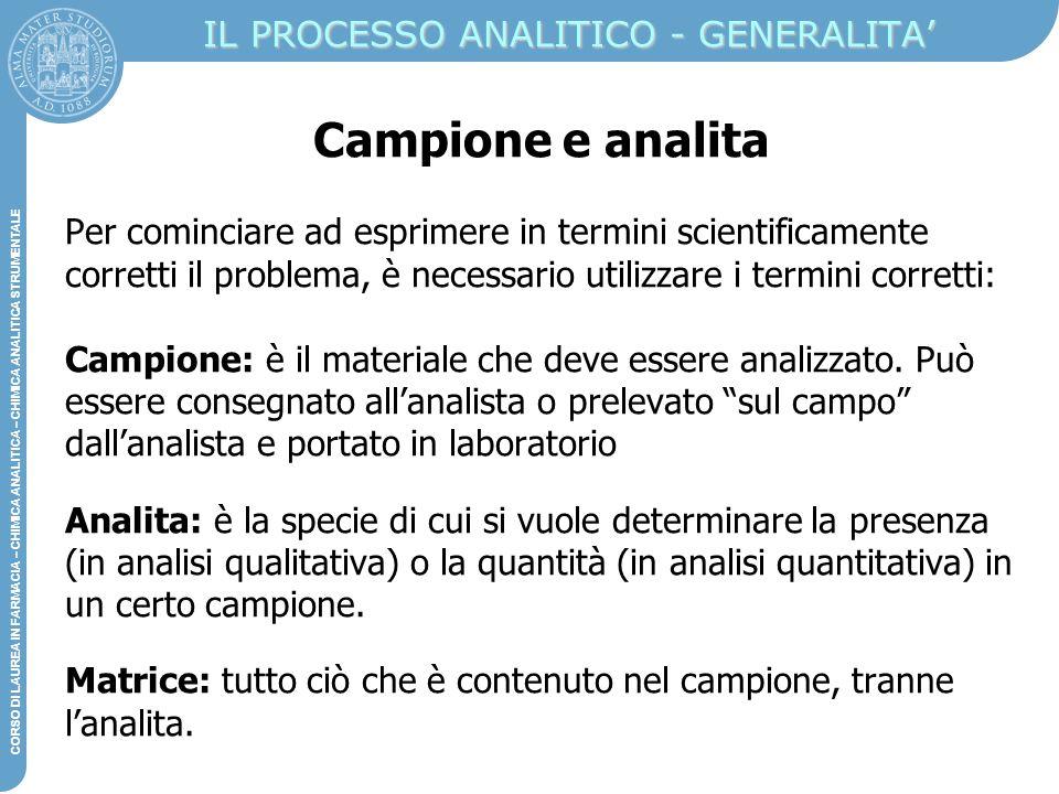 IL PROCESSO ANALITICO - GENERALITA'