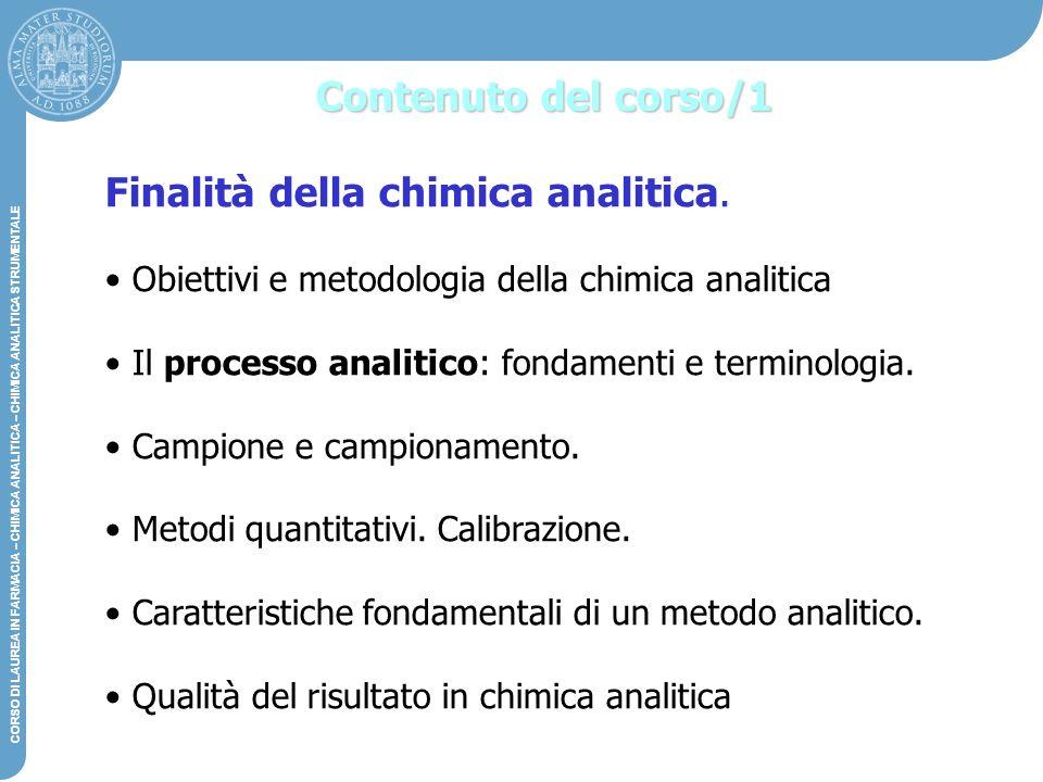 Finalità della chimica analitica.