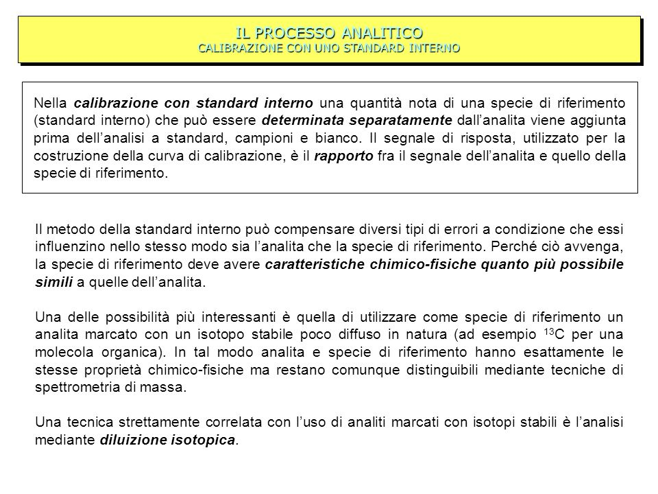 IL PROCESSO ANALITICO CALIBRAZIONE CON UNO STANDARD INTERNO