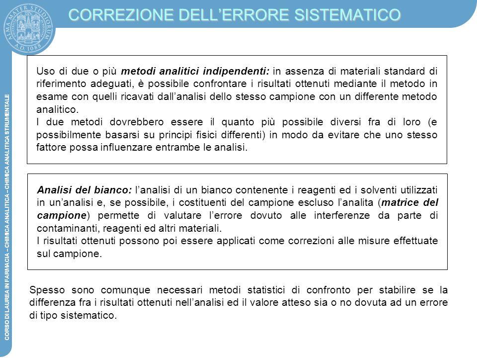 CORREZIONE DELL'ERRORE SISTEMATICO
