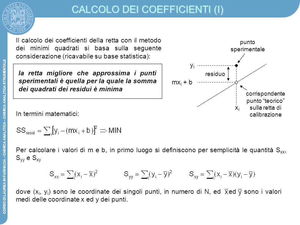 CALCOLO DEI COEFFICIENTI (I)