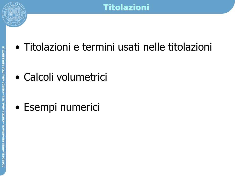 Titolazioni e termini usati nelle titolazioni Calcoli volumetrici