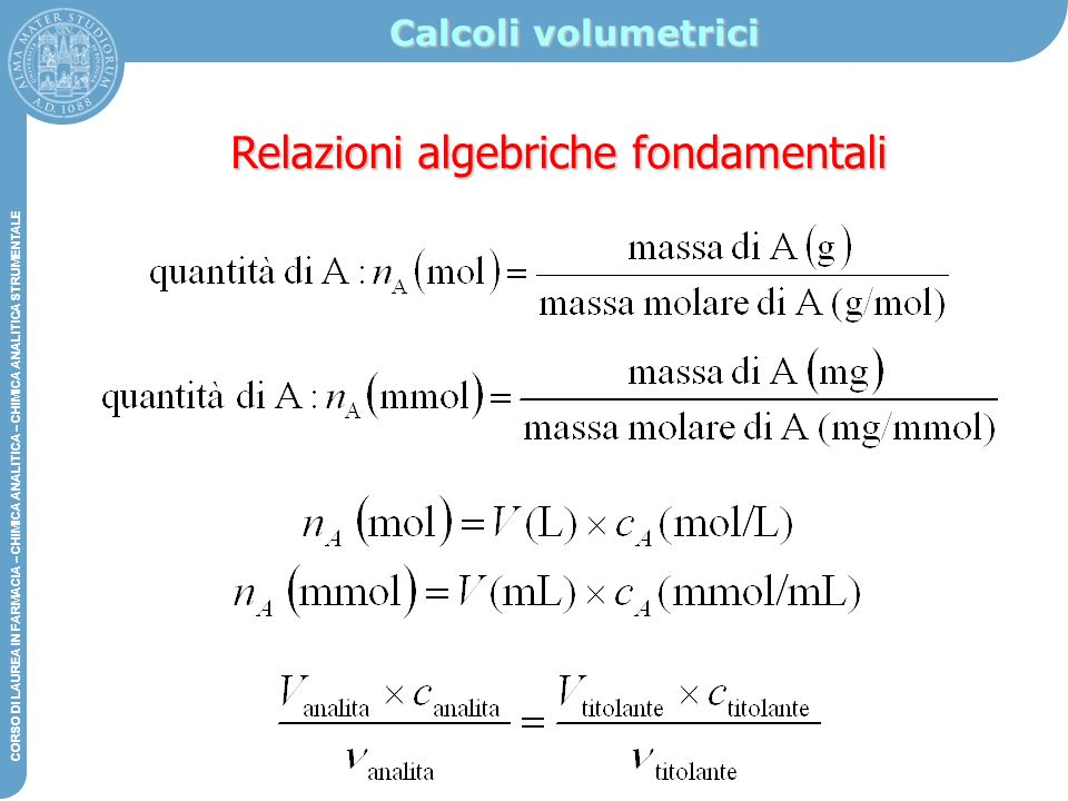 Relazioni algebriche fondamentali